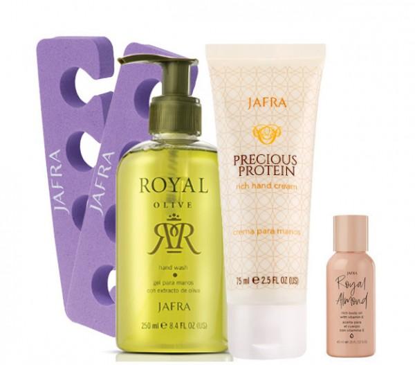 Hand & Fuß Set - 2 Produkte + Gratis Zehentrenner + Royal Almond Body Oil, 40 ml
