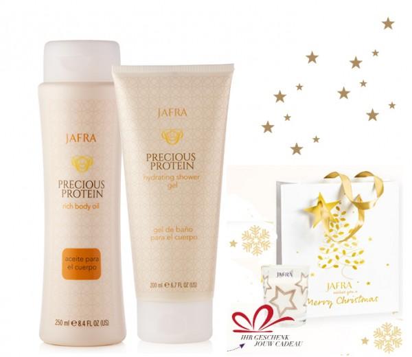 Precious Protein Shower Set + Gratis Weihnachtskerze, 95g + Geschenktasche