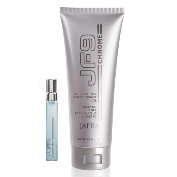 JF9 Chrome All-Over Duschgel für Körper und Haare + Gratis Taschenstäuber, 7ml